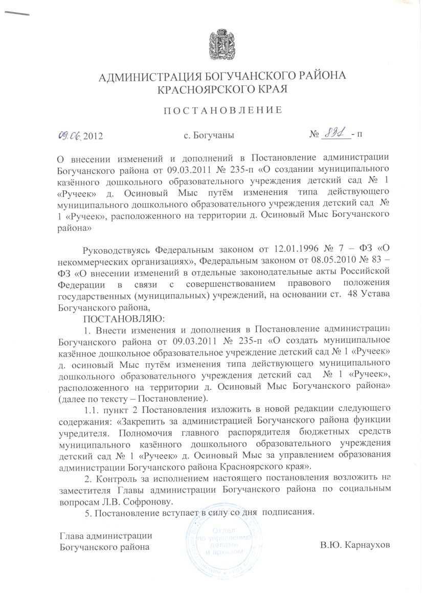 Постановление о внесении изменений